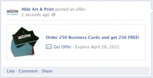 facebook offer - able art and print blog post
